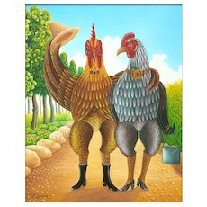 "FRITZNER LAMOUR (Haitian born 1948) Original Signed Oil On Canvas ""Bird Couple On A Stroll"""