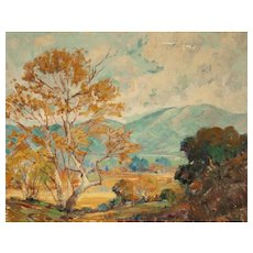 "GEORGE DEMONT OTIS (American 1879 - 1962) - Original Impressionist Landscape Oil On Canvas - ""Green Mountains. Golden Trees"""