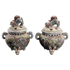 RARE Pair of Antique  Japanese Enameled Terracotta Covered Censers, Meiji Period