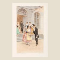 "Lucius Rossi (Italian, 1846-1913) Antique Lithograph In Colors  ""The Greeting"""