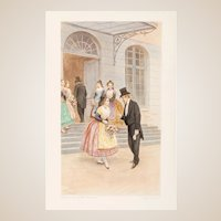 """Lucius Rossi (Italian, 1846-1913) Antique Lithograph In Colors  """"The Greeting"""""""