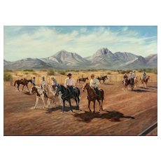 "RUTH GOLDSBOROUGH (American 1918 - 2013) Original Oil On Canvas ""Warm Up at Mustang Corners"" Signed/Dated 1980"