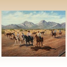 """RUTH GOLDSBOROUGH (American 1918 - 2013) Original Oil On Canvas """"Warm Up at Mustang Corners"""" Signed/Dated 1980"""
