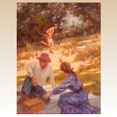 "ROBERT SUMMERS (American, b. 1940) - Original Signed Oil ""An Unexpected Sight"" - Fine Western Contemporary Art"