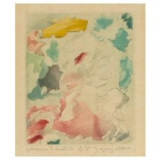 "JACQUES VILLON (French, 1875-1963) Signed and Numbered Etching with Aquatint In Colors On Japon Paper ""À Poèmes Rompus"" 1960."
