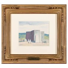 "LOUIS BASSI SIEGRIEST (American 1899 - 1989) Original Signed Gouache and Watercolor ""Taos Church"" - Fine Western Art"