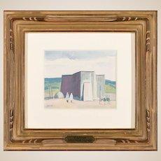 "LOUIS BASSI SIEGRIEST (American 1899 - 1989) Original Signed Gouache and Watercolor ""Taos Church"" - Fine Western Art"