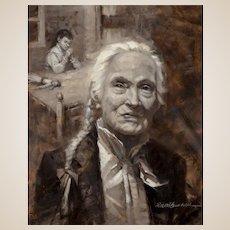 "Robert Summers (American, b. 1940) - Original Signed Oil on Masonite ""Bedtime Prayer"" Dated 1999"