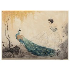 JEAN HARDY (French, b. 1880) Signed Hand Colored Etching  and Aquatint In Original Period Frame