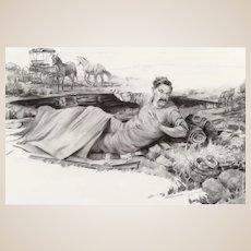 "ROBERT SUMMERS (American, b. 1940) - Original Signed Drawing  ""A Rude Awakening"" - Fine Western Contemporary Art"