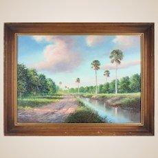 "AHMED ELTEMTAMY (Egyptian/Kuwaiti/American, b. 1960) - Original Signed Oil ""Florida Orange Grove"""