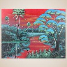 "AL BLACK - An Original Florida Highwayman Artist - ""Marsh At Dusk"" - Original Signed Oil On Canvas"
