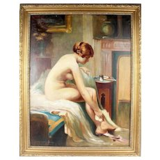 "HARALD SLOTT-MOLLER (Danish,  1864 - 1937) Original Signed Oil On Canvas - ""Seated Nude"" -"