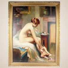 "HARALD SLOTT-MOLLER (Danish,  1864 - 1937) Original Signed Oil On Canvas - ""Seated Nude"" -"