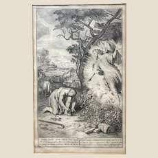 18th Century Engraving - ANDRIES VAN BUYSEN, THE ELDER  (Dutch, 18th Century) - Moses and the Burning Bush