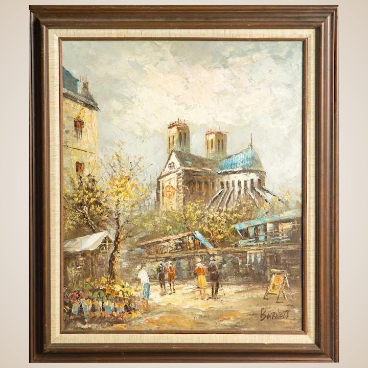 CAROLINE BURNETT (American - 19th Century) Antique Original Signed Oil On  Canvas -