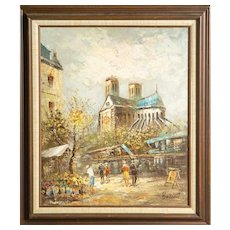 "CAROLINE BURNETT (American - 19th Century) Antique Original Signed Oil On Canvas - ""Street Scene in Paris"""