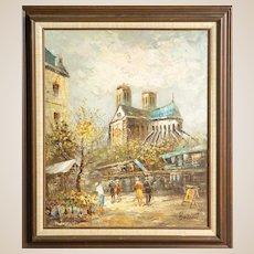"""CAROLINE BURNETT (American - 19th Century) Antique Original Signed Oil On Canvas - """"Street Scene in Paris"""""""