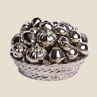 TIFFANY & CO. - Large Hand Painted Metallic Porcelain Centerpiece Of A Basket Of Fruit -