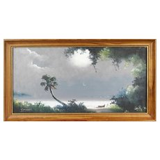 "TRACY NEWTON (American 20th Century ) - ""Florida Storm""  Original Signed Oil (Son of Sam Newton, An Original Highwayman) -"