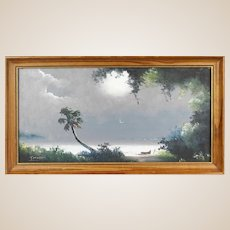 "TRACY NEWTON (American 20th Century ) - ""Florida Storm""  Original Signed Oil (Son of Sam Newton, An Original Highwayman) -"