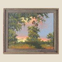 "WILLIE DANIELS (American Born 1950) - Florida Highwaymen Original Oil ""Fire Sky Over The Marsh """