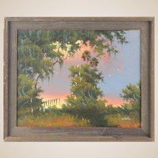 "WILLIE DANIELS (American Born 1950) - Florida Highwayman Original Oil ""Fire Sky Over The Marsh """
