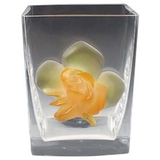 LALIQUE  (France) - Exquisite and Rare - Retired Large Crystal Vase With Golden Coral to Yellow Rose, (Vase or Ice/Champagne Bucket)