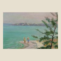 "American School - Original Oil On Board - ""Walking By A New England Beach""  Unsigned"