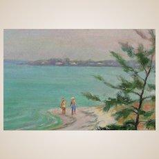 "American School - Original Oil On Board - ""Walking By A New England Beach""  Unsigned"