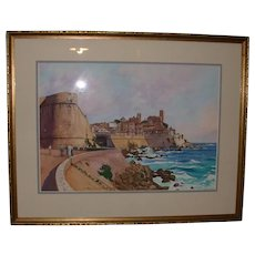 """Original Watercolor - """"The Old Town, Antibes """" - Titled and Signed by artist, William Nelson, c 1986"""