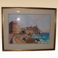 "Original Watercolor - ""The Old Town, Antibes "" - Titled and Signed by artist, William Nelson, c 1986"