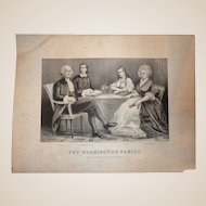 """Currier & Ives Antique Print  (Lithograph) - """"The Washington Family"""" c 1870-1880."""