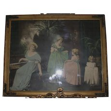 "Antique Colored Print, ""Dance Lesson"" Framed"