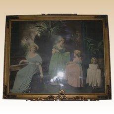 "Antique Colored Print, ""Dance Lesson"" Framed"