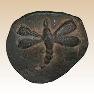 Small Antique Pottery Plaque With Molded Dragonfly