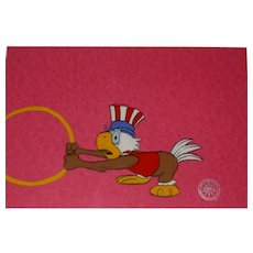 Bi-Centennial Bird - Hand-Painted Animation Production Cel, With The Original Drawing!