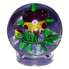 Antique Baccarat Paperweight - Pansy - Clear Star Cut Base. Circa 1850