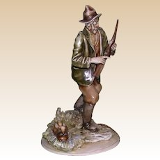 "Borsato -  Multi-Figural Porcelain  Sculpture ""Hunter With Hare"""