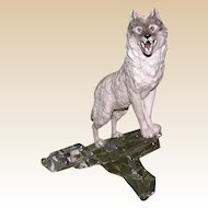 Mixed Media Signed Sculpture of a Wolf On A Crystal Lookout, Germany