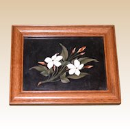 Antique Pietra Dura - Two Flowers On a Branch - Beautiful Workmanship, late 19th Century