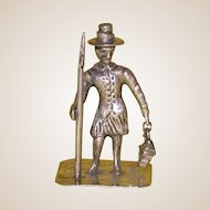 Antique Continental Silver Miniature Footman With Swinging Lantern And Staff, 19th Century