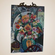 "Original Oil by Listed Artist, Bracha Guy,  One of Israel's Most Popular Contemporary Artists, - ""Bouquet II"" , Signed"