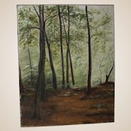 Original Oil On Canvas - Fine Woodland View In Summer