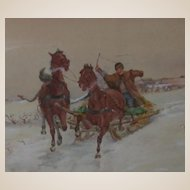 Original Antique Watercolor -  Winter Scene With  Sleigh - Signed and Dated, 1912