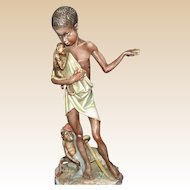 Borsato - Native Boy With Monkeys -  Multi-Figural Porcelain Sculpture