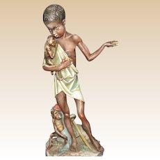 Borsato - Native Boy With Monkeys -  Multi-Figural Porcelain Sculpture
