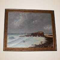 Antique Original Oil on Canvas, Signed, Primitive New England Coastal Painting, c 1893, Monogramed E. H.