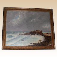 Antique Original Oil on Canvas, Signed, Primitive New England Coastal Painting, c 1893