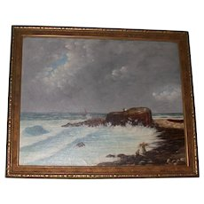 Antique Original Oil on Canvas, Signed, Primitive New England Coastal Painting, c 1893, Monogramed E. H.